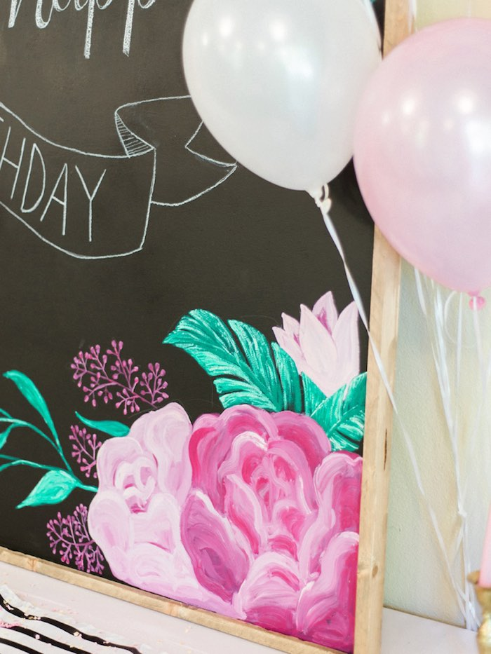 Chalkboard sign detail from a Forty & Fabulous Floral Glam Birthday Party via Kara's Party Ideas | KarasPartyIdeas.com- The Place for All Things Party! (31)