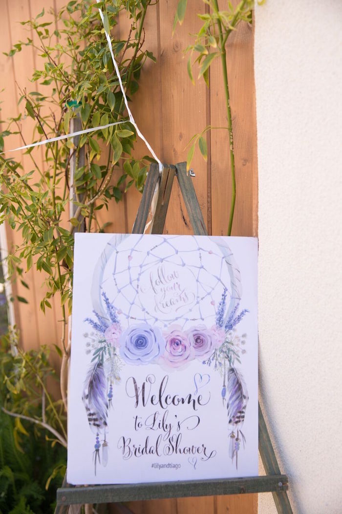 Bohemian-inspired welcome sign from a French Country Bohemian Bridal Shower via Kara's Party Ideas | KarasPartyIdeas.com (26)