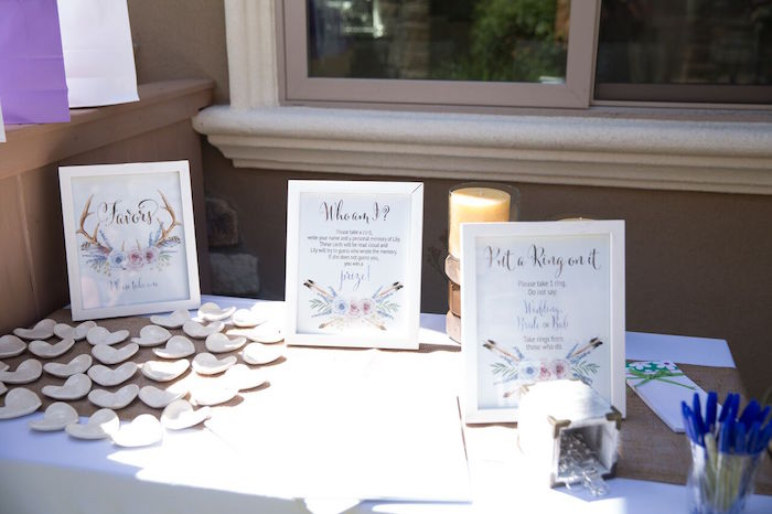 Favor table from a French Country Bohemian Bridal Shower via Kara's Party Ideas | KarasPartyIdeas.com (24)