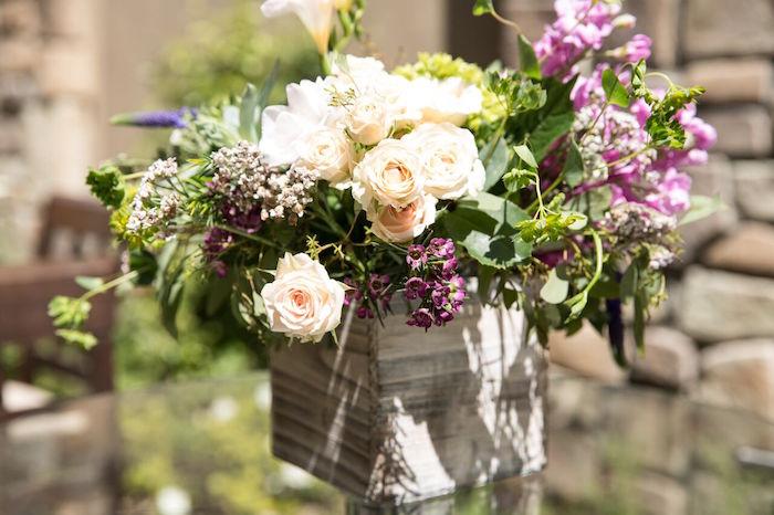 Flower centerpiece from a French Country Bohemian Bridal Shower via Kara's Party Ideas | KarasPartyIdeas.com (22)