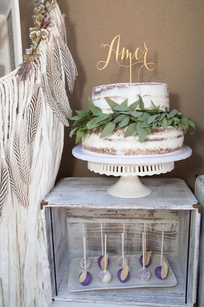 Stunning cake display from a French Country Bohemian Bridal Shower via Kara's Party Ideas | KarasPartyIdeas.com (14)