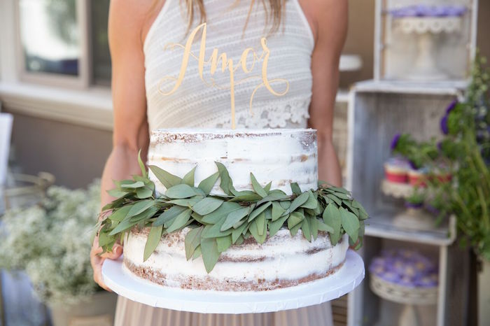 Cake from a French Country Bohemian Bridal Shower via Kara's Party Ideas | KarasPartyIdeas.com (9)