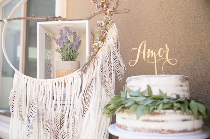 Gorgeous cake display from a French Country Bohemian Bridal Shower via Kara's Party Ideas | KarasPartyIdeas.com (34)