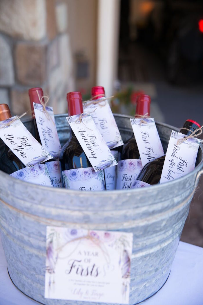 Wine bottles from a French Country Bohemian Bridal Shower via Kara's Party Ideas | KarasPartyIdeas.com (29)