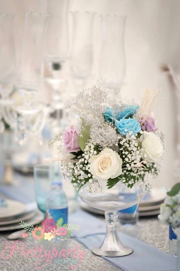 Floral centerpiece from a Frozen Birthday Party via Kara's Party Ideas KarasPartyIdeas.com (27)