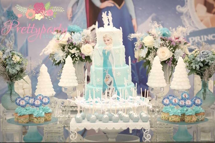 Cake display from a Frozen Birthday Party via Kara's Party Ideas KarasPartyIdeas.com (25)