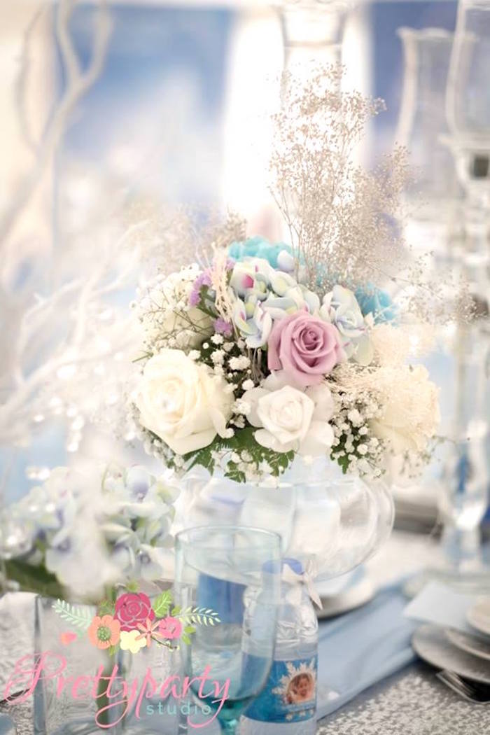 Floral arrangement from a Frozen Birthday Party via Kara's Party Ideas KarasPartyIdeas.com (18)