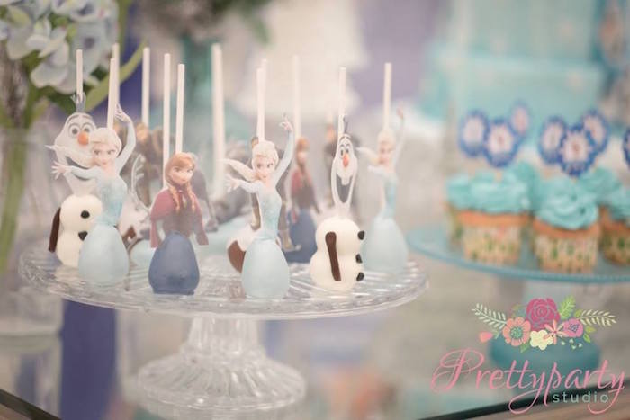 Frozen character dessert pops from a Frozen Birthday Party via Kara's Party Ideas KarasPartyIdeas.com (15)