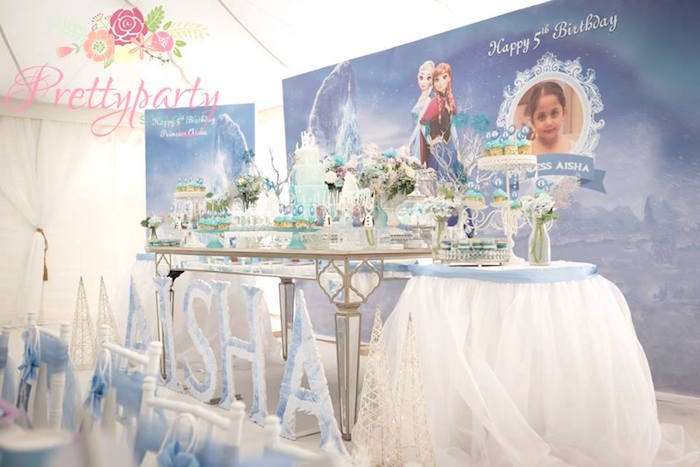 Dessert tablescape from a Frozen Birthday Party via Kara's Party Ideas KarasPartyIdeas.com (10)