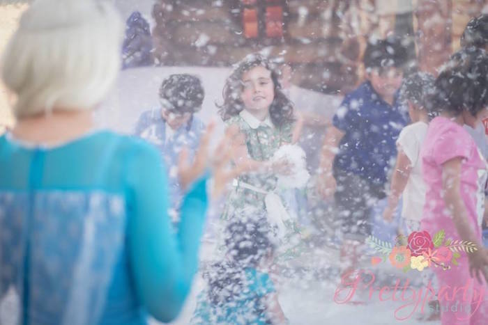 Snow play from a Frozen Birthday Party via Kara's Party Ideas KarasPartyIdeas.com (4)