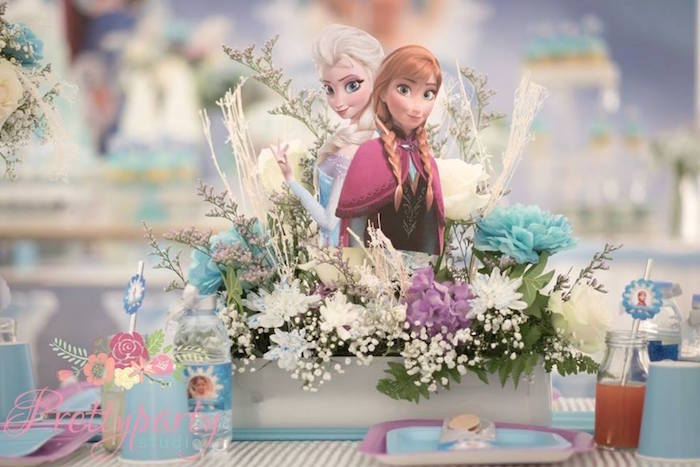 Floral Anna & Elsa Centerpiece from a Frozen Birthday Party via Kara's Party Ideas KarasPartyIdeas.com (29)