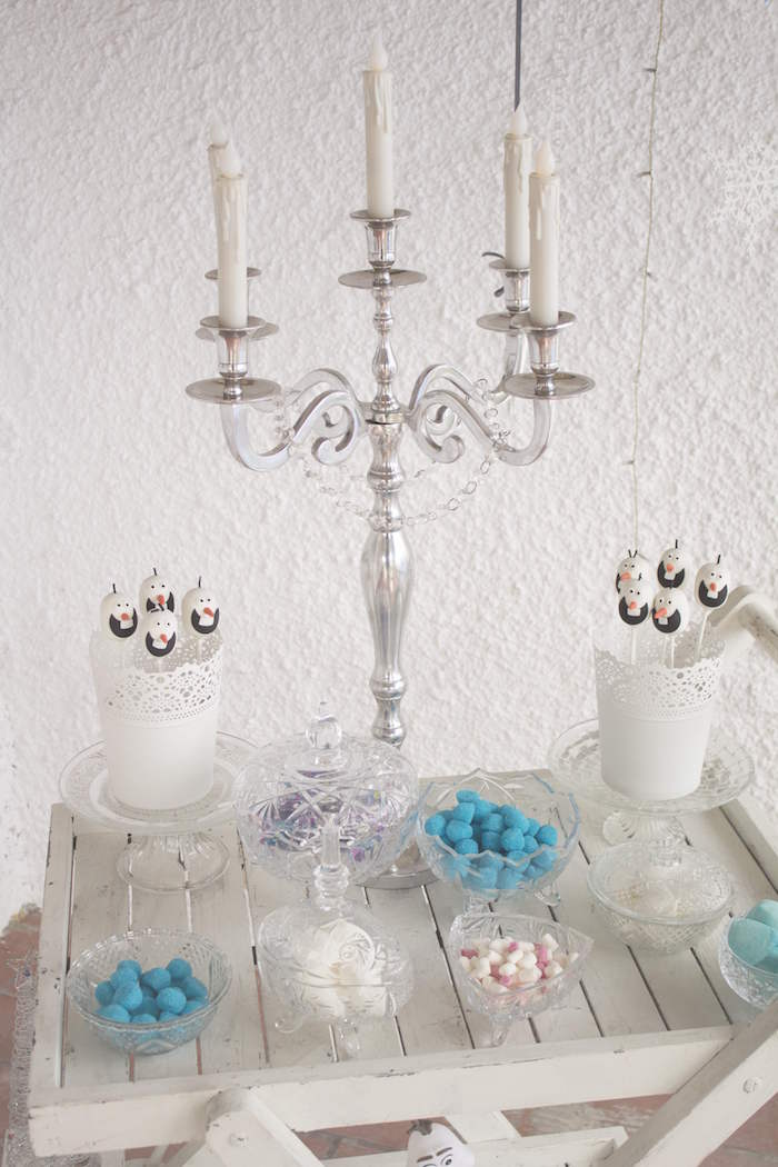 Inspirational Mini sweet buffet from a Frozen Birthday Tea Party via Kara us Party Ideas KarasPartyIdeas