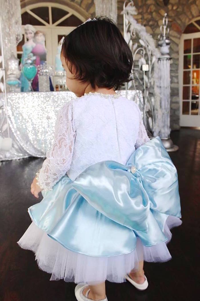Birthday girl's dress from a Frozen Themed Joint Birthday Party via Kara's Party Ideas | KarasPartyIdeas.com (19)