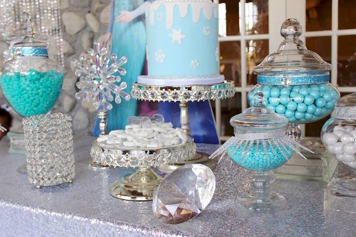 Dessert table details from a Frozen Themed Joint Birthday Party via Kara's Party Ideas | KarasPartyIdeas.com (11)