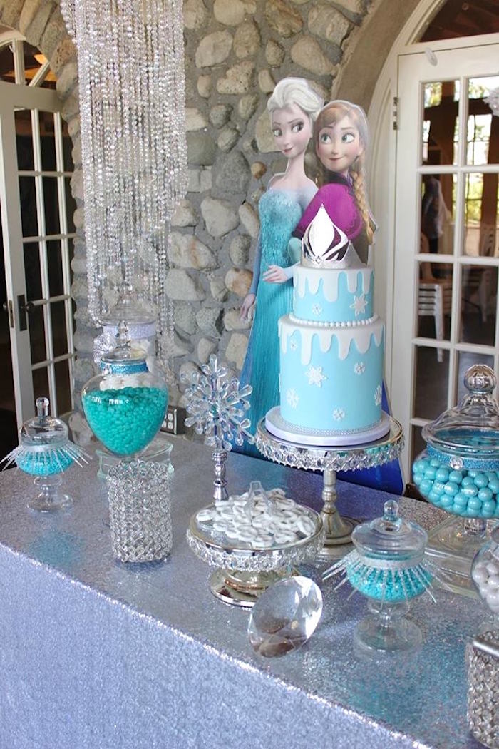 Dessert table details from a Frozen Themed Joint Birthday Party via Kara's Party Ideas | KarasPartyIdeas.com (10)