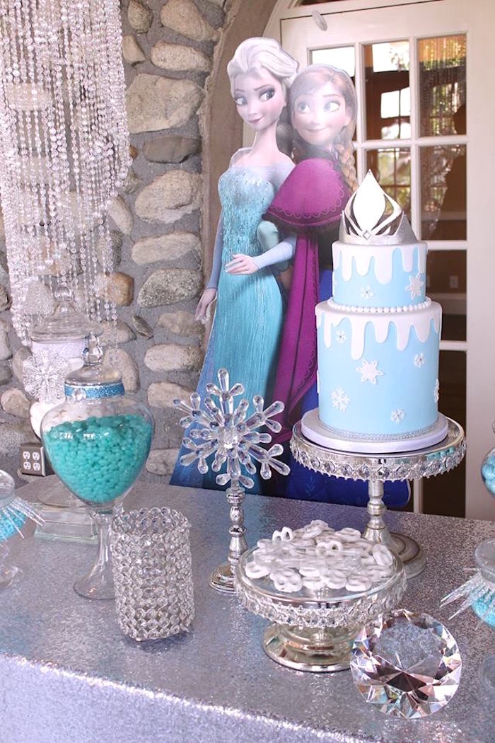 Dessert table details from a Frozen Themed Joint Birthday Party via Kara's Party Ideas | KarasPartyIdeas.com (9)