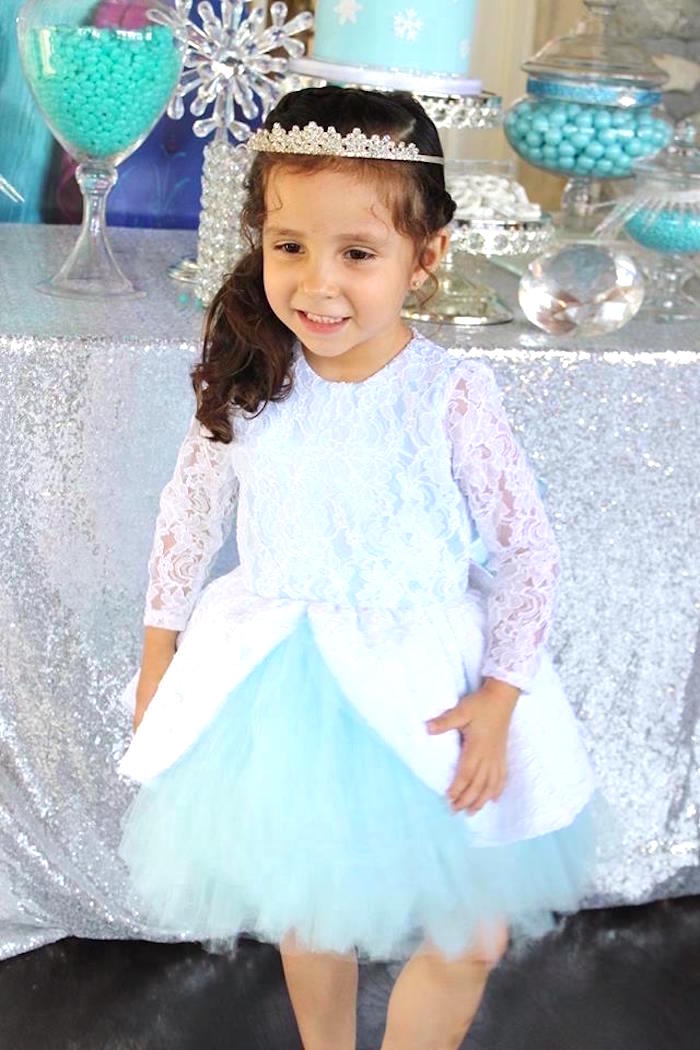 Birthday girl from a Frozen Themed Joint Birthday Party via Kara's Party Ideas | KarasPartyIdeas.com (7)