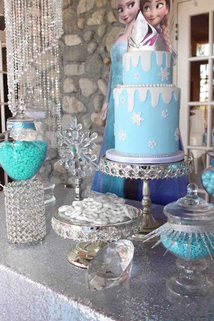 Dessert table details from a Frozen Themed Joint Birthday Party via Kara's Party Ideas | KarasPartyIdeas.com (3)