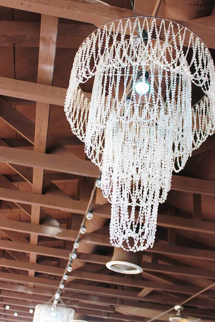 Chandelier from a Frozen Themed Joint Birthday Party via Kara's Party Ideas | KarasPartyIdeas.com (2)