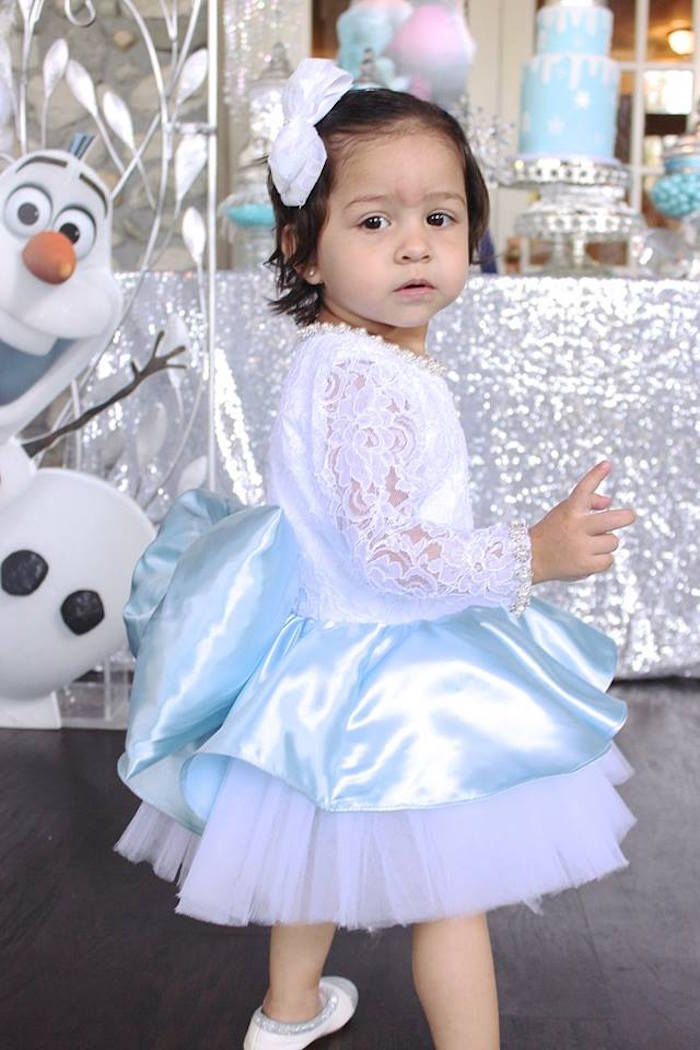 Birthday girl from a Frozen Themed Joint Birthday Party via Kara's Party Ideas | KarasPartyIdeas.com (29)