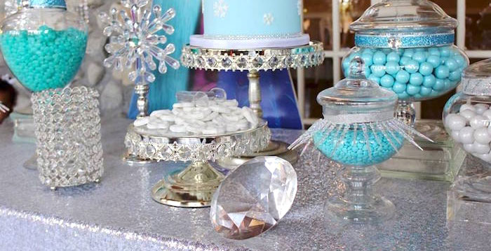 Dessert table details from a Frozen Themed Joint Birthday Party via Kara's Party Ideas | KarasPartyIdeas.com (1)
