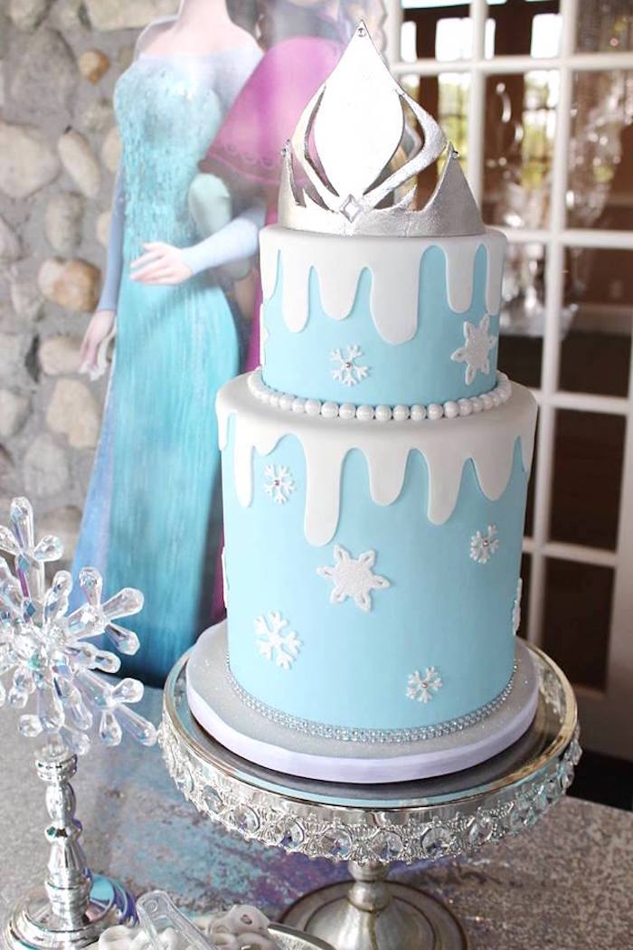 Cake from a Frozen Themed Joint Birthday Party via Kara's Party Ideas | KarasPartyIdeas.com (28)