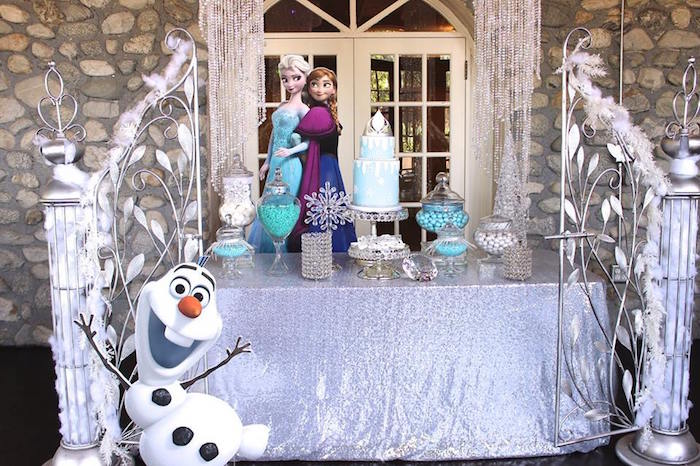 Dessert table from a Frozen Themed Joint Birthday Party via Kara's Party Ideas | KarasPartyIdeas.com (26)