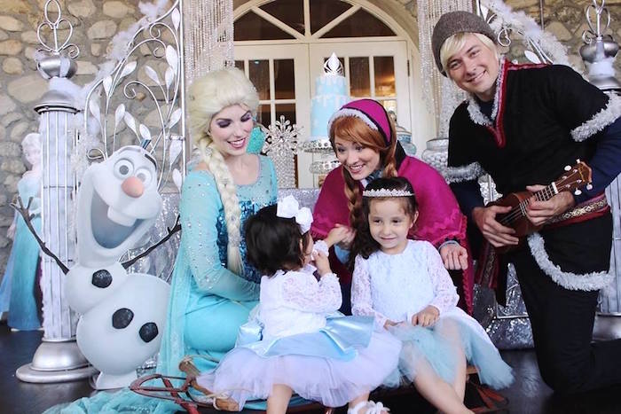 Birthday girls with Anna, Elsa and Kristoff from a Frozen Themed Joint Birthday Party via Kara's Party Ideas | KarasPartyIdeas.com (25)