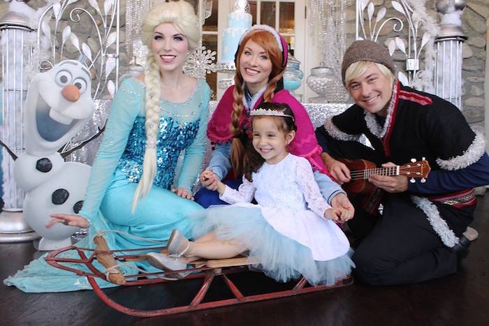 Birthday girl with Anna, Elsa and Kristoff from a Frozen Themed Joint Birthday Party via Kara's Party Ideas | KarasPartyIdeas.com (24)