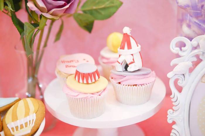 Cupcakes from a Girly Circus + Dumbo Birthday Party via Kara's Party Ideas | KarasPartyIdeas.com (10)