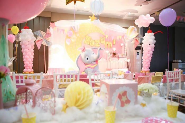 Party backdrop from a Girly Circus + Dumbo Birthday Party via Kara's Party Ideas | KarasPartyIdeas.com (9)