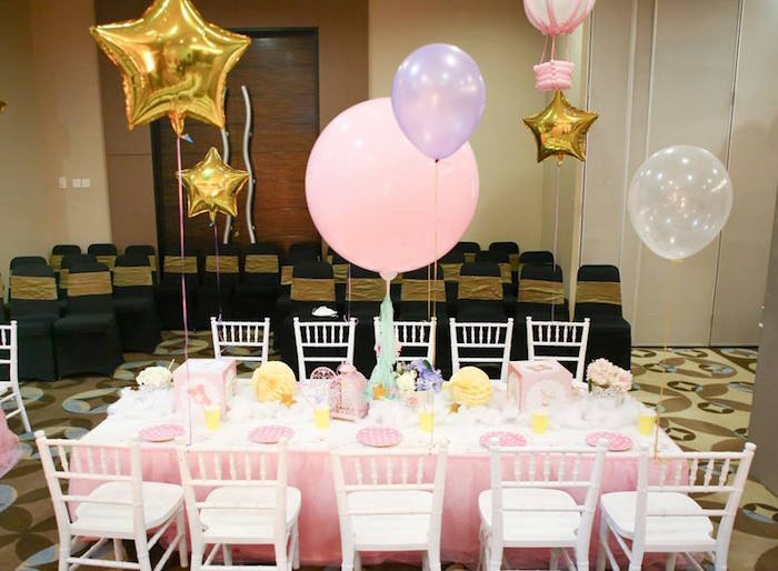 Guest table from a Girly Circus + Dumbo Birthday Party via Kara's Party Ideas | KarasPartyIdeas.com (7)