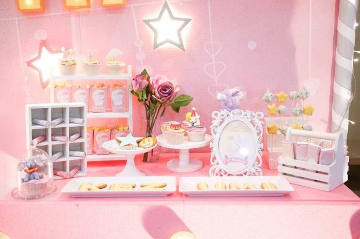 Dessert table from a Girly Circus + Dumbo Birthday Party via Kara's Party Ideas | KarasPartyIdeas.com (5)