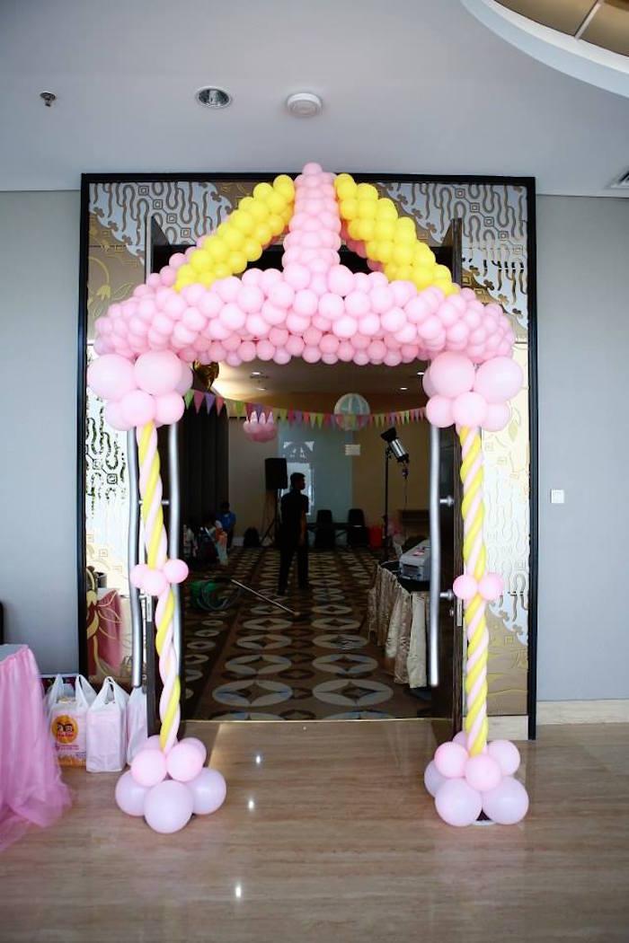 Ballon tent/canopy entrance from a Girly Circus + Dumbo Birthday Party via Kara's Party Ideas | KarasPartyIdeas.com (23)