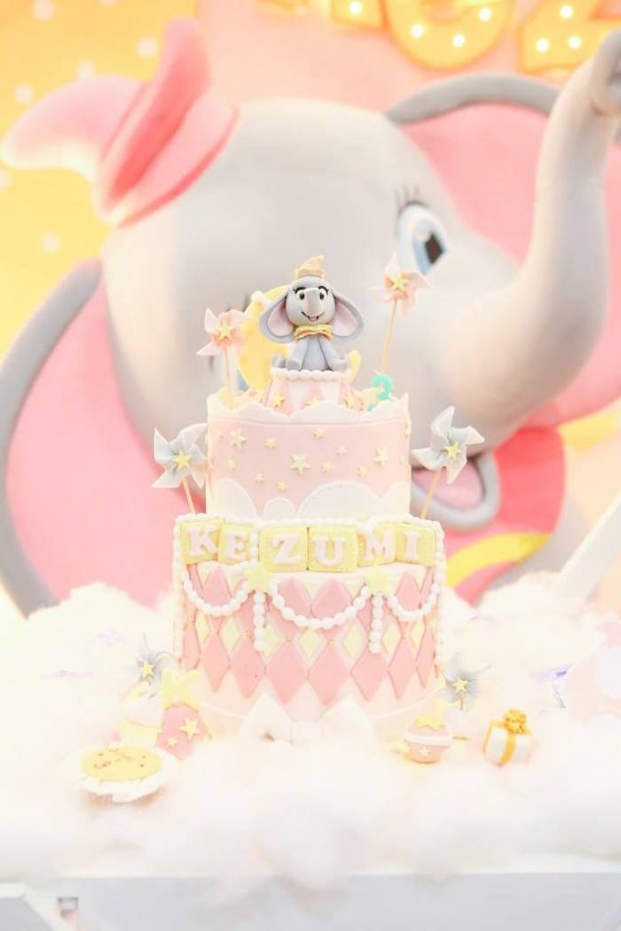 Cake from a Girly Circus + Dumbo Birthday Party via Kara's Party Ideas | KarasPartyIdeas.com (15)