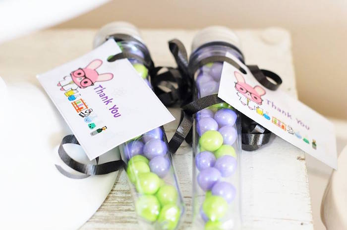 Candy filled favor tubes from a Girly Science Themed Birthday Party via Kara's Party Ideas KarasPartyIdeas.com (7)