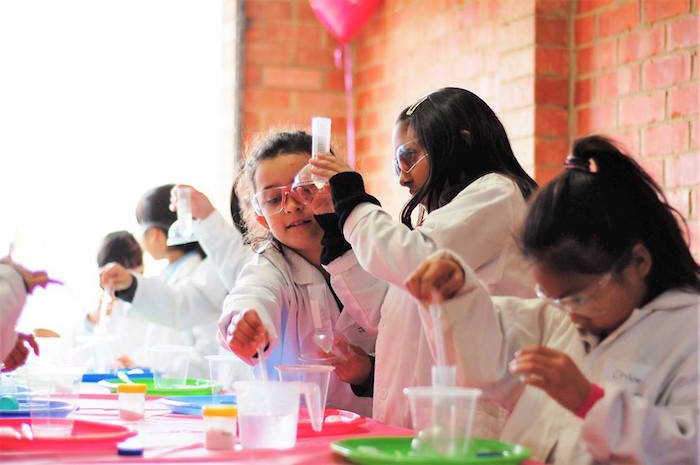 Little scientists experimenting from a Girly Science Themed Birthday Party via Kara's Party Ideas KarasPartyIdeas.com (6)