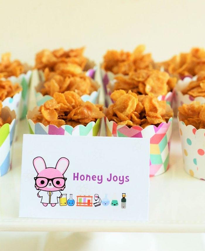 Honey joys from a Girly Science Themed Birthday Party via Kara's Party Ideas KarasPartyIdeas.com (5)