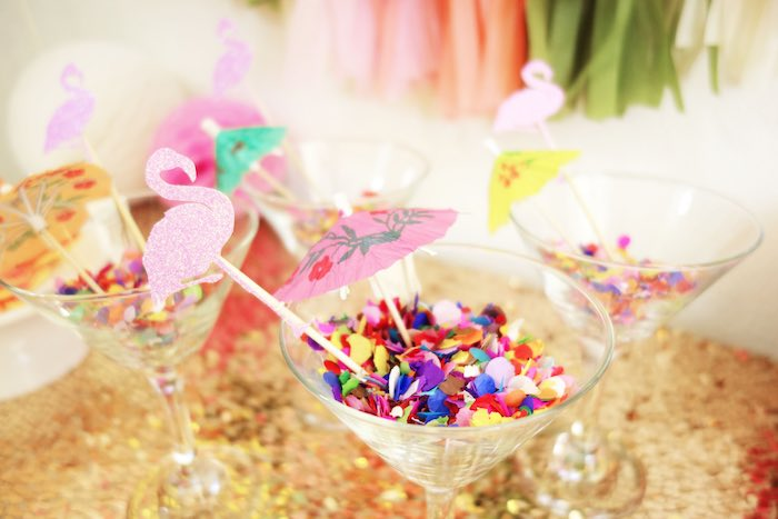 Glasses from a Glamorous Tropical Flamingo Birthday Party via Kara's Party Ideas | KarasPartyIdeas.com | The Place for All Things Party! (2)