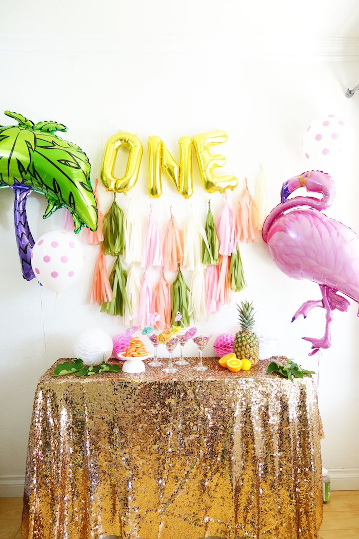 Dessert table from a Glamorous Tropical Flamingo Birthday Party via Kara's Party Ideas | KarasPartyIdeas.com | The Place for All Things Party! (19)