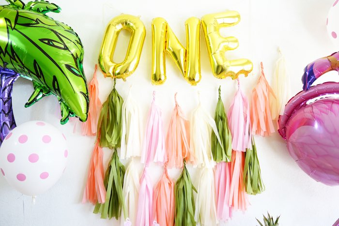 Backdrop from a Glamorous Tropical Flamingo Birthday Party via Kara's Party Ideas | KarasPartyIdeas.com | The Place for All Things Party! (18)