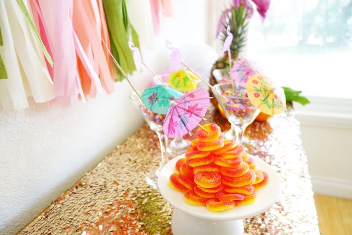 Tablescape from a Glamorous Tropical Flamingo Birthday Party via Kara's Party Ideas | KarasPartyIdeas.com | The Place for All Things Party! (17)