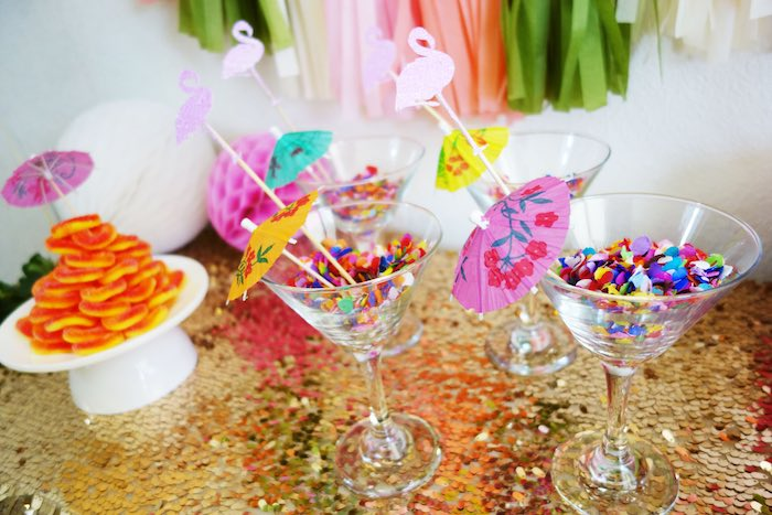 Glasses from a Glamorous Tropical Flamingo Birthday Party via Kara's Party Ideas | KarasPartyIdeas.com | The Place for All Things Party! (15)