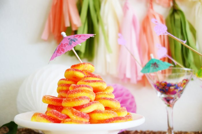 Stacked ring candy from a Glamorous Tropical Flamingo Birthday Party via Kara's Party Ideas | KarasPartyIdeas.com | The Place for All Things Party! (13)