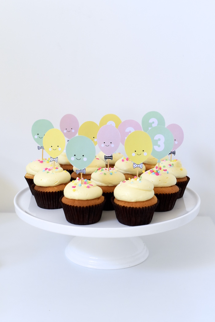 Cupcakes from a Happy Balloons Birthday Party via Kara's Party Ideas KarasPartyIdeas.com (21)