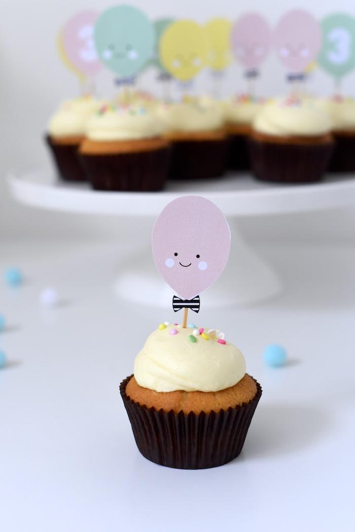 Cupcake from a Happy Balloons Birthday Party via Kara's Party Ideas KarasPartyIdeas.com (16)