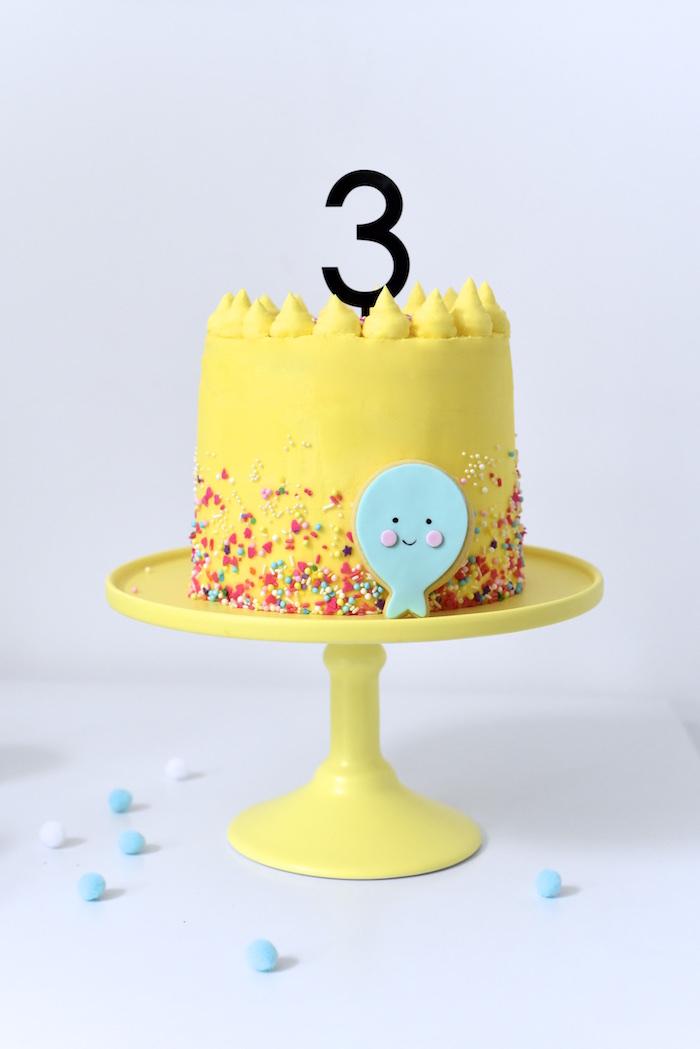 Cake from a Happy Balloons Birthday Party via Kara's Party Ideas KarasPartyIdeas.com (15)