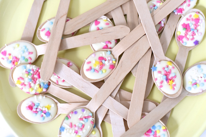 White chocolate & sprinkles from a Happy Balloons Birthday Party via Kara's Party Ideas KarasPartyIdeas.com (13)
