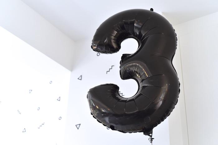 Black Mylar 3 Balloon From A Happy Balloons Birthday Party Via Karas Ideas