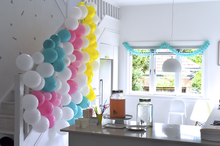 Balloon wall from a Happy Balloons Birthday Party via Kara's Party Ideas KarasPartyIdeas.com (3)